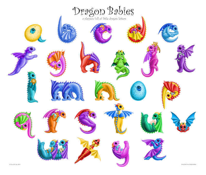 Print A complete alphabet of Dragon babies by Sue Ellen Brown
