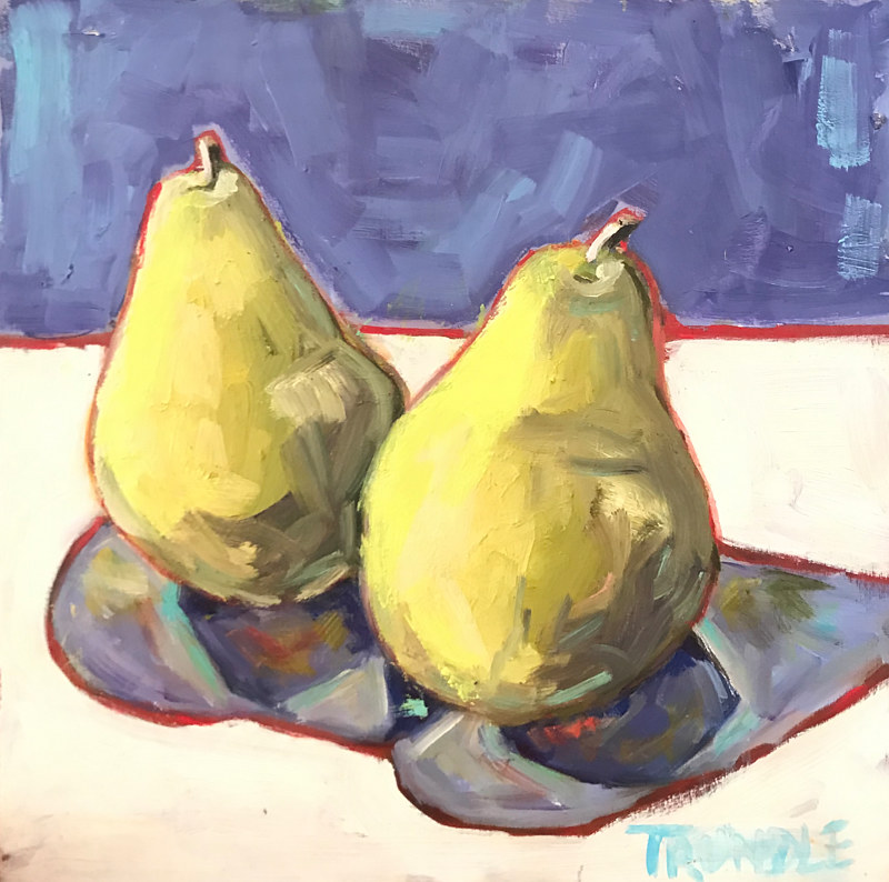 Oil painting Pears by Sarah Trundle