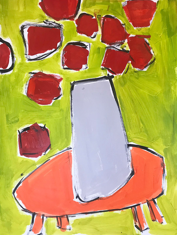 Acrylic painting Red Flowers/ Orange Table  by Sarah Trundle