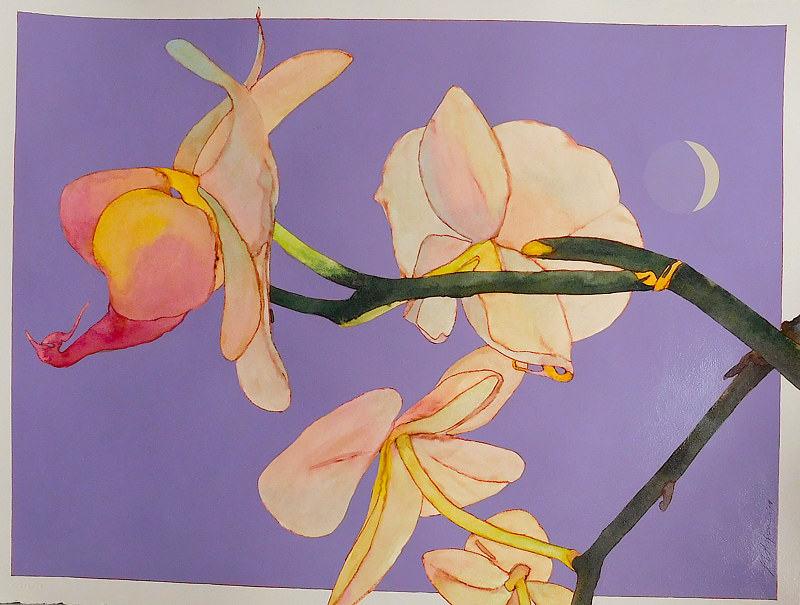 Acrylic painting Orchids by Reed Dixon