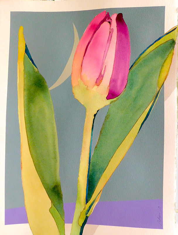 Acrylic painting Tulip  by Reed Dixon