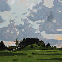 Acrylic painting Evening Blush, Lost Dog Hill  by Harry Stooshinoff