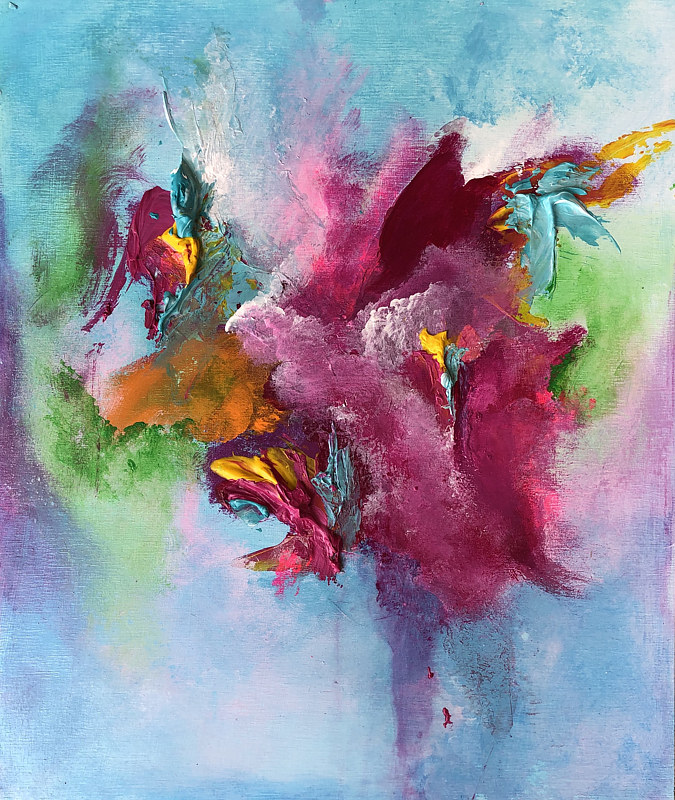 "Mixed-media artwork ""Dancing Hummingbirds"" by Mike Salcido"