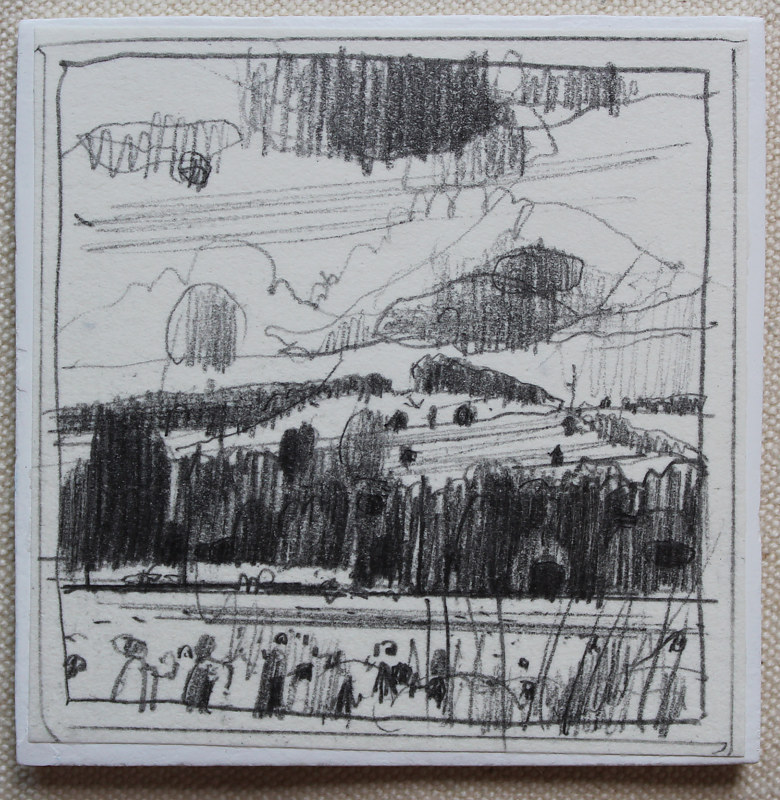 Drawing Hilltop, July 2 by Harry Stooshinoff