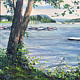 Oil painting New Fairfield Town Park, Candlewood Lake, CT. by Elizabeth4361 Medeiros