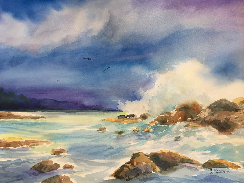 Watercolor Ocean wave by Betty Ann  Medeiros
