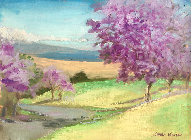 Oil painting Jacaranda Season Upcountry Maui by Pamela Neswald