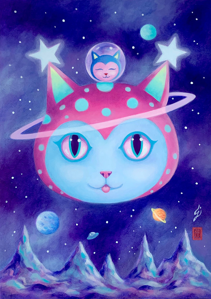 Oil painting Neko Planet by Carolina Seth