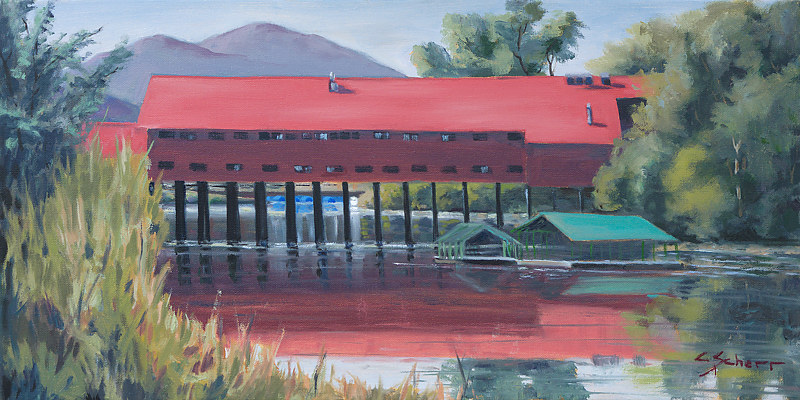Print Cedar Street Bridge by connie scherr