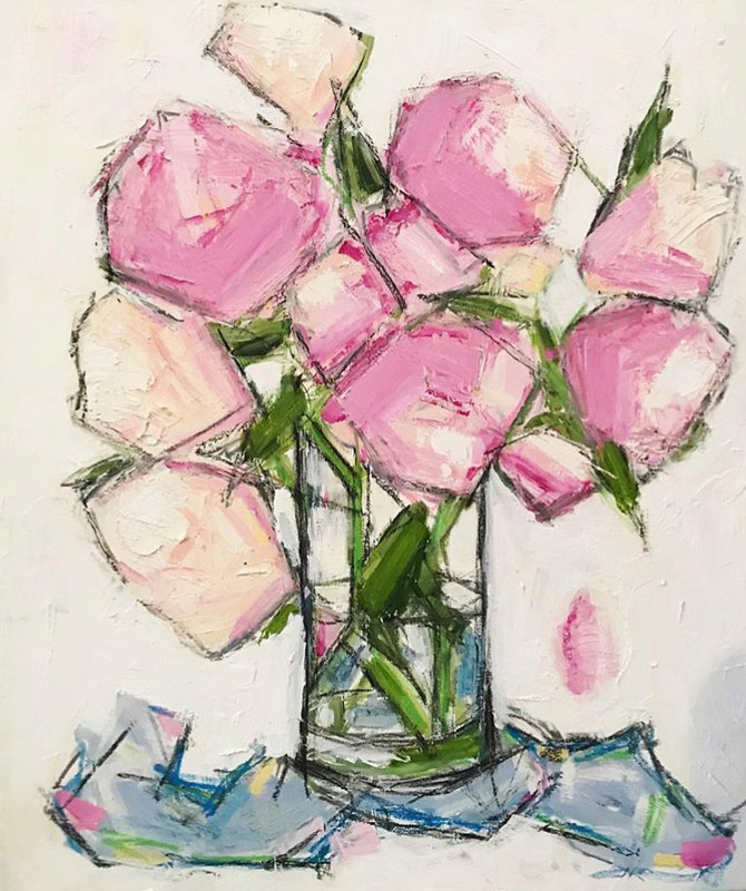 Acrylic painting Peonies: Abstracted by Sarah Trundle