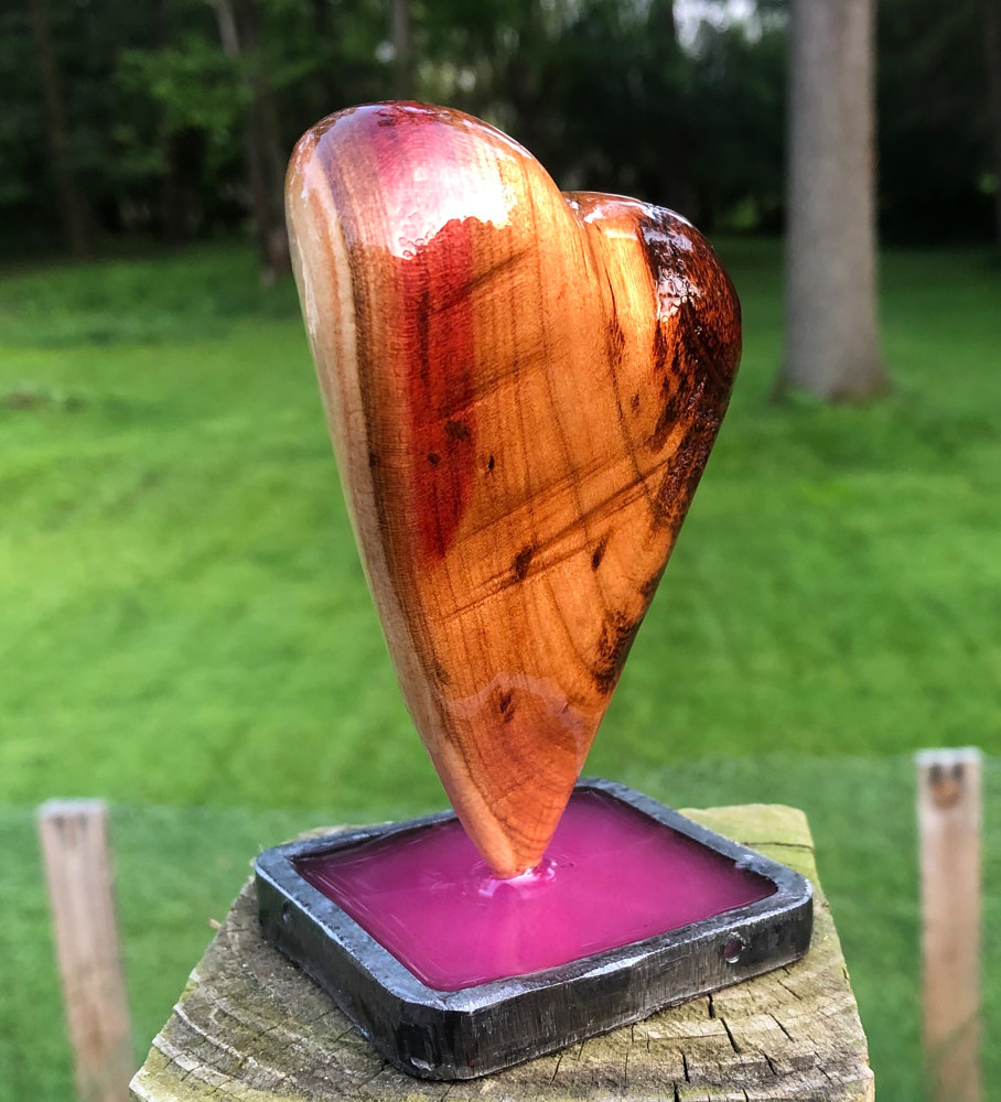 Small Cherry Heart with steel and resin base by Steven Simmons