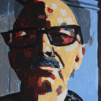 Acrylic painting Self with Big Glasses by Harry Stooshinoff