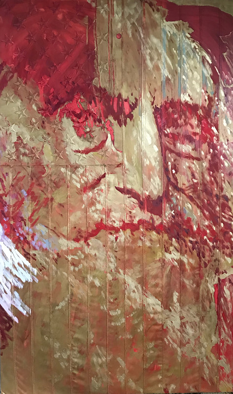 Oil painting John Brown.  60 x 36, Oil on sewn and embroidered canvas. by Edward Miller