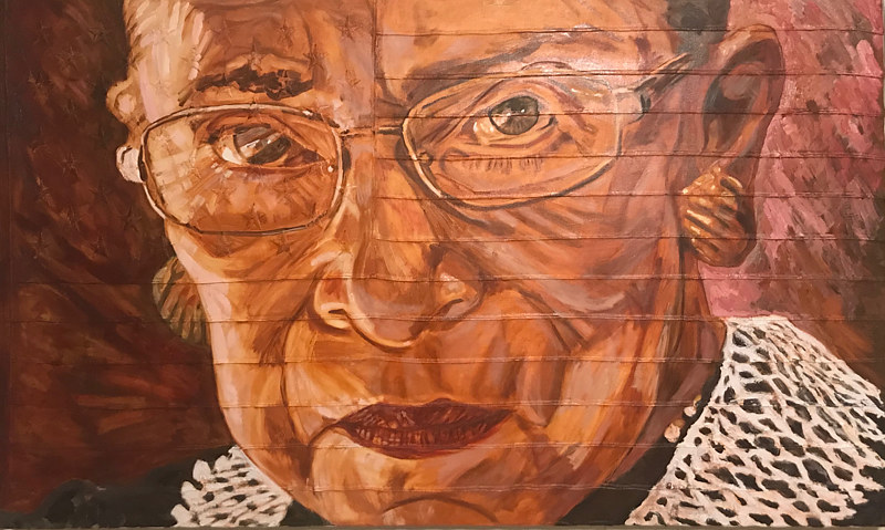 RBG.  36 x 60, Oil on sewn and embroidered canvas. by Edward Miller