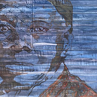 Harriet Tubman.  36 x 60, Oil on sewn and embroidered canvas. by Edward Miller