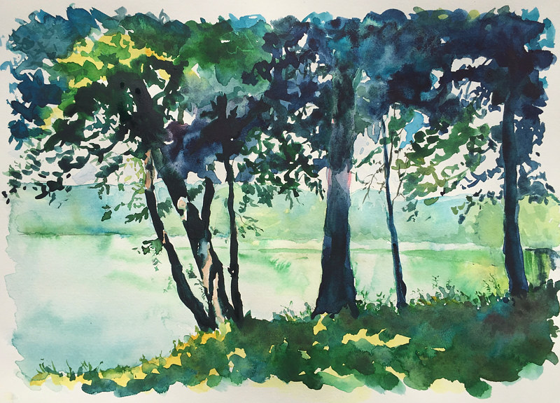 "Watercolor ""Shady Spot"" New Fairfield town beach NF Connecticut by Betty Ann  Medeiros"