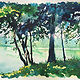"Watercolor ""Shady Spot"" New Fairfield town beach NF Connecticut by Elizabeth4361 Medeiros"