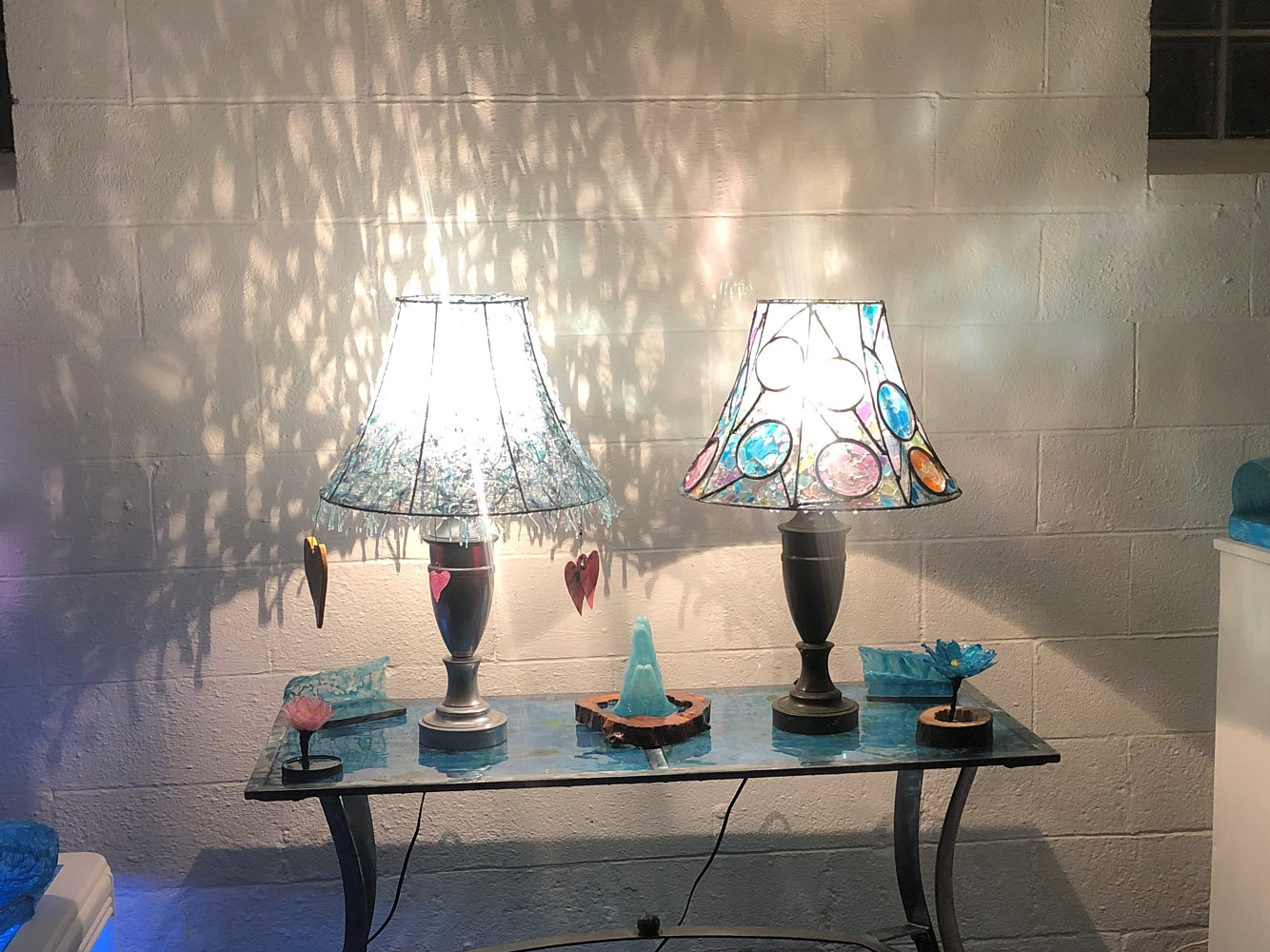 Steel and Fiberblass Table 2 with Lampshades by Steven Simmons