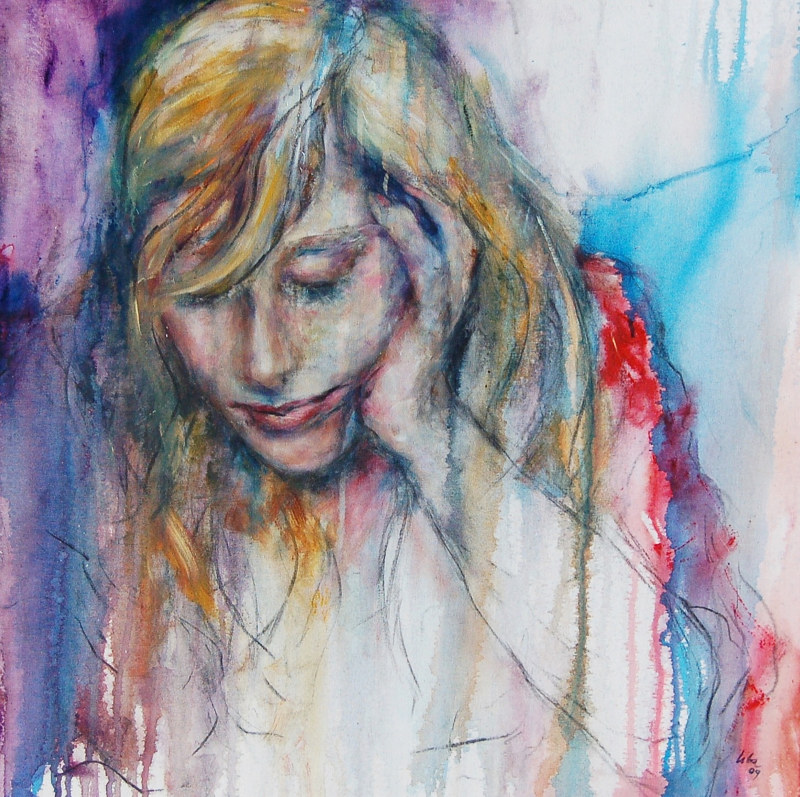 Mixed-media artwork Dreamer by Liba Labik