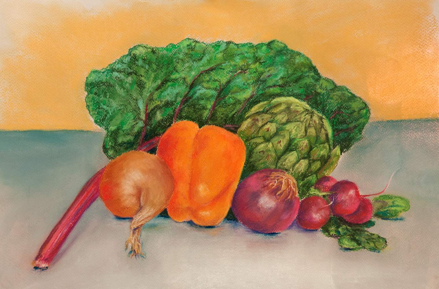 Drawing Still Life with Chard by Kathleen Gross