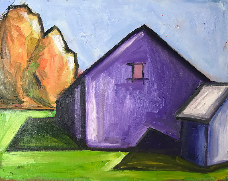 Oil painting Purple Barn by Sarah Trundle
