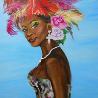 Acrylic painting Feathers in Her Hair by Jeanne Lloyd