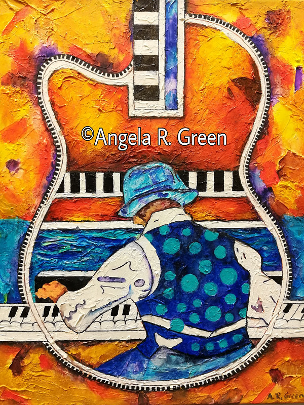 Acrylic painting Jazz by the Beach: Sylvester by Angela  Green