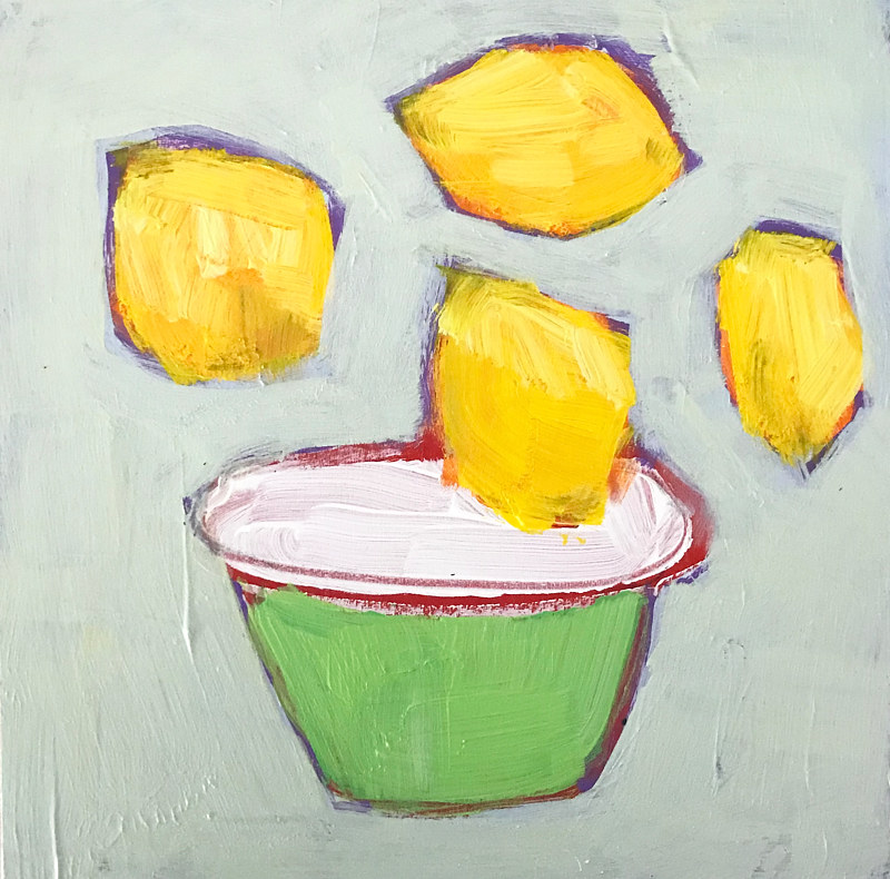 Acrylic painting Little Lemons by Sarah Trundle