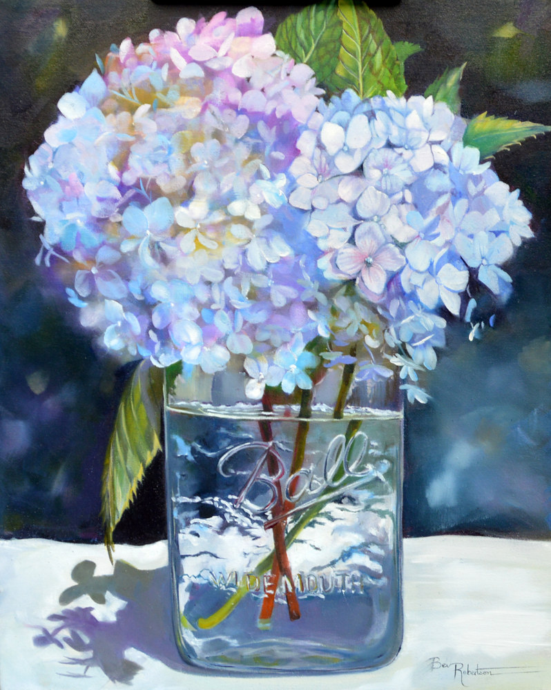 Blue Hydrangeas in a Jar BR1901 by Bev Robertson