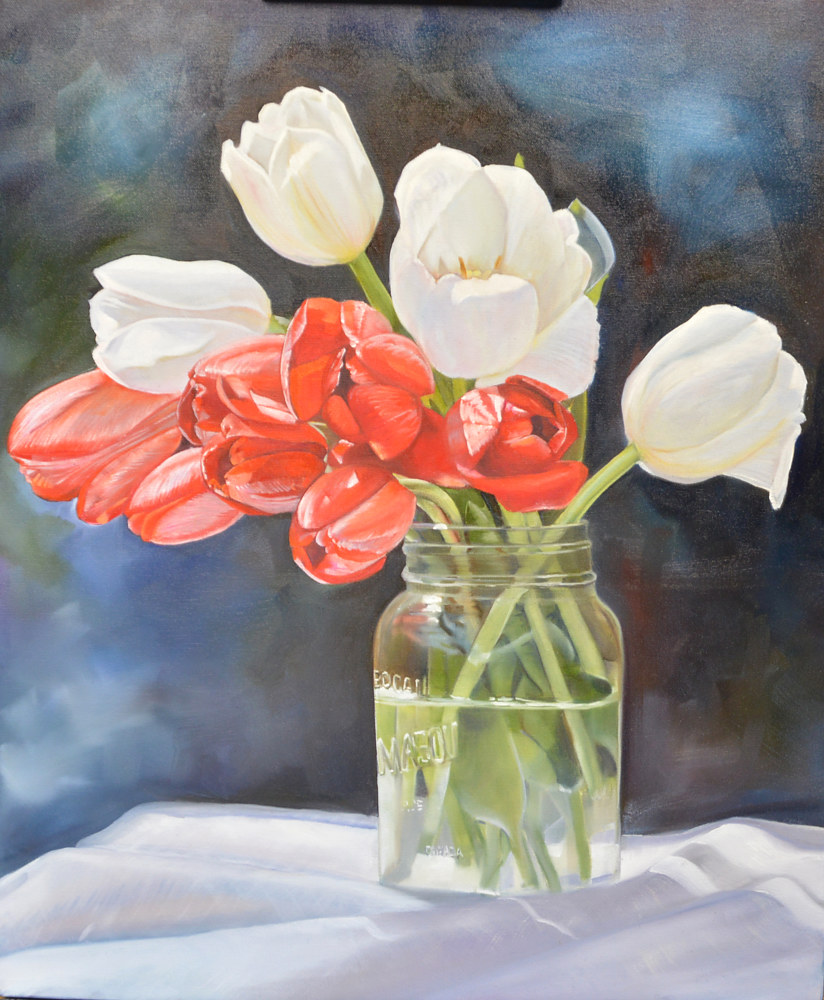 Red and White Spring Delight BR1903 by Bev Robertson