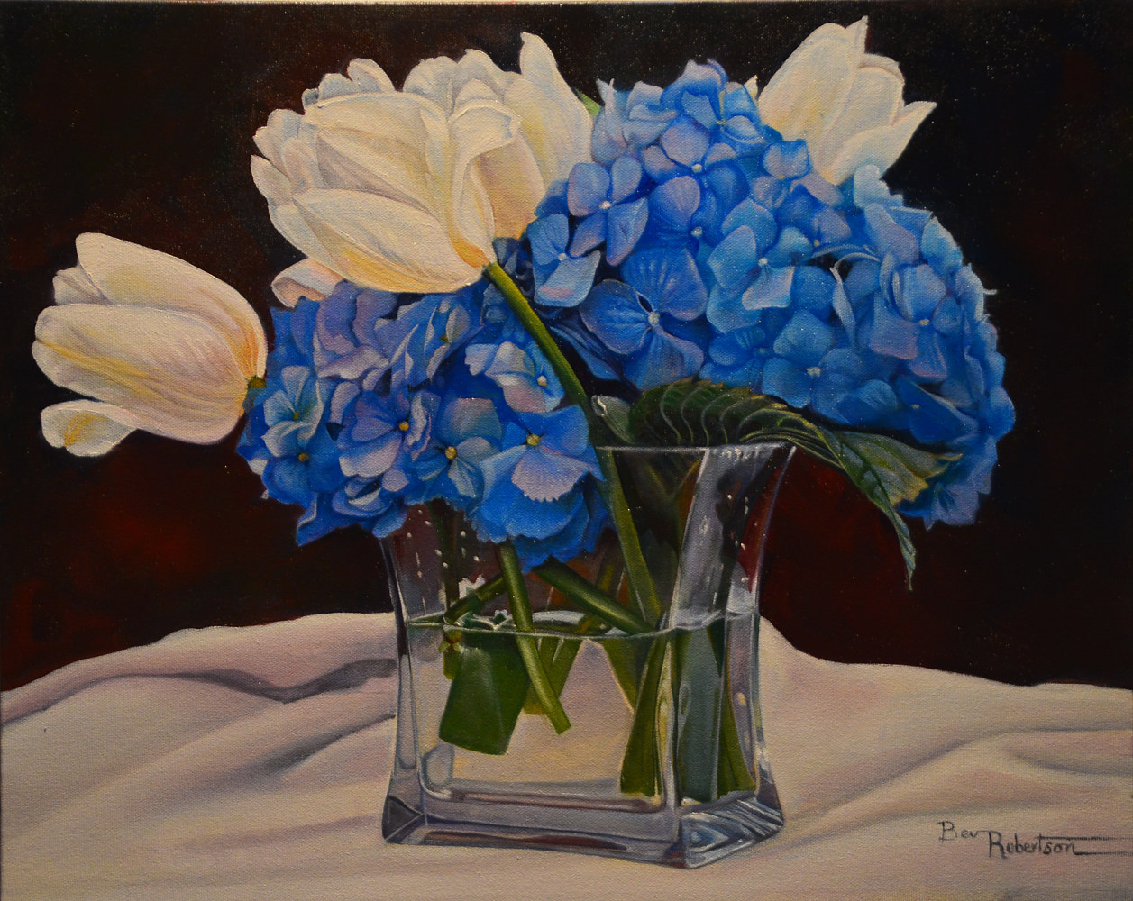 bev-robertson-hydrangea and Tulips by Bev Robertson