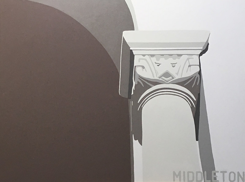 Acrylic painting Detail, Burrard Street Bridge by Stephen Middleton