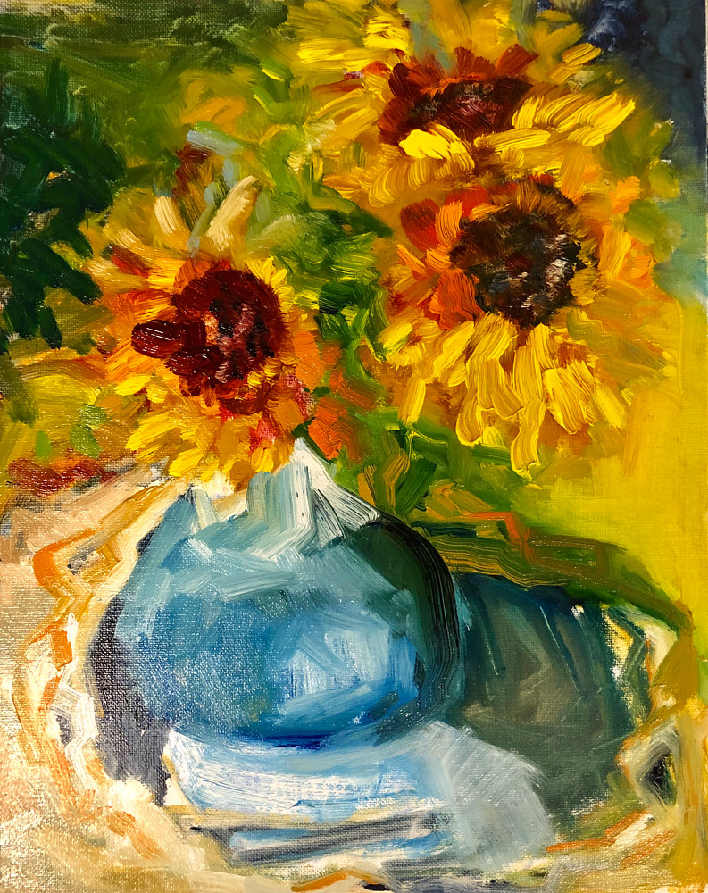 Oil painting Sunflowers by Linda Richardi