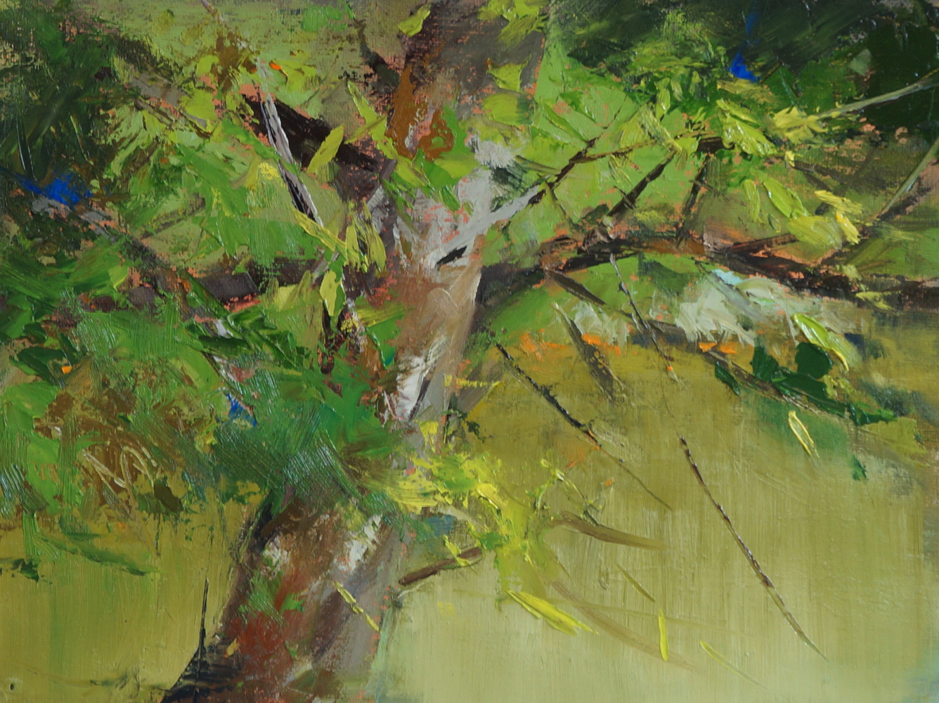 Oil painting The Tree by the River  by Eunice Sim