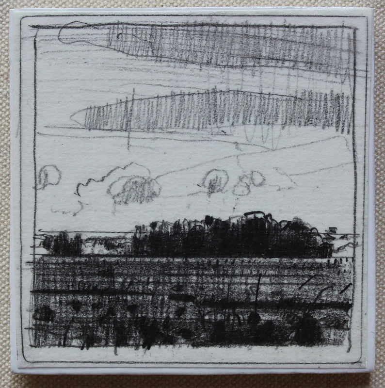 Drawing August Bean Field  by Harry Stooshinoff