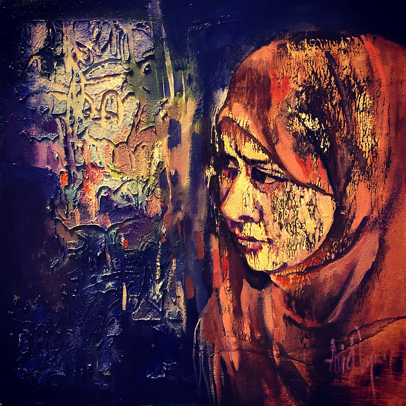 Mixed-media artwork Hooded Brown by Ariel Lyons