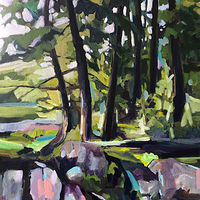 Acrylic painting Afternoon Dam Lake by Ariel Lyons