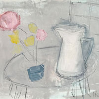 Acrylic painting Tabletop with White Pitcher by Sarah Trundle