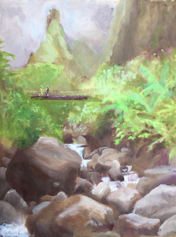 Oil painting ʻĪao Valley by Pamela Neswald