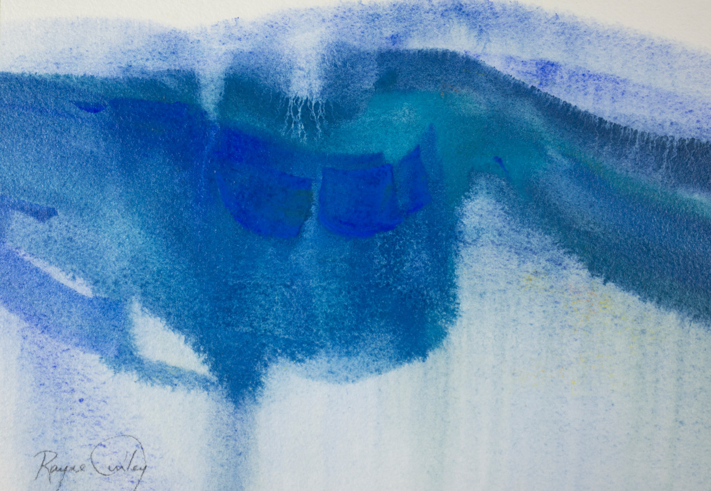 Rayne Tunley, Study in Blue, 7.5in x 10.5in, gouache by Rayne Tunley