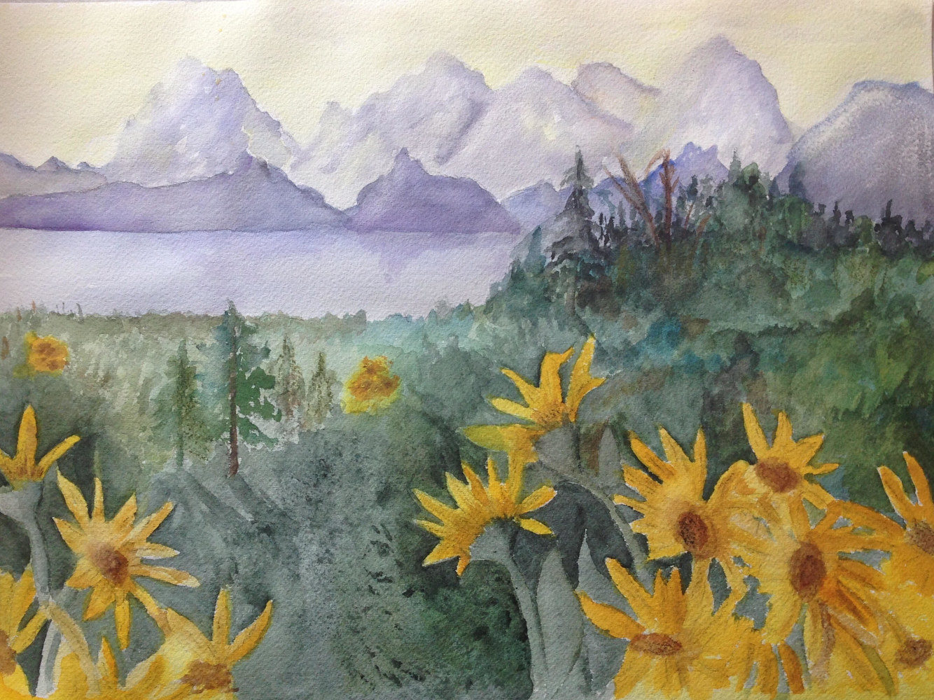 Watercolor Tetons by Joan Morris