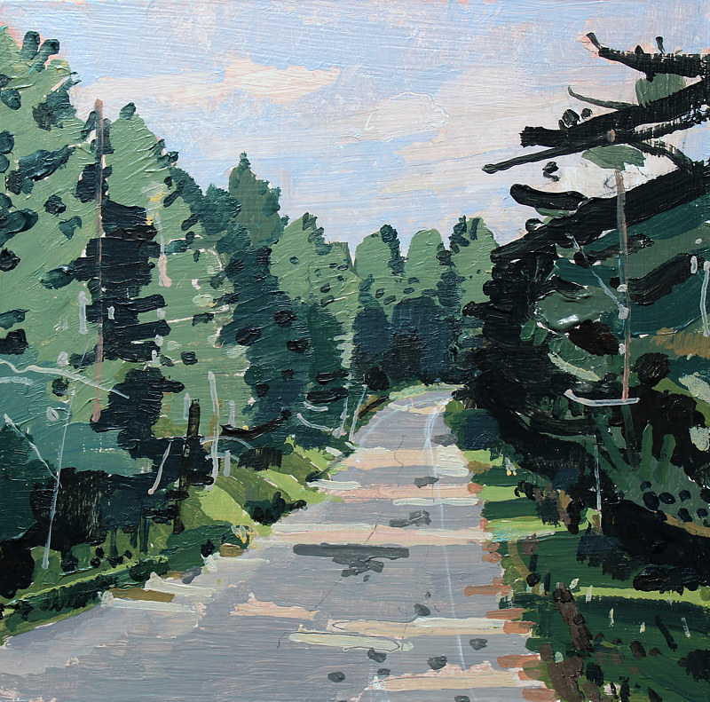 Acrylic painting Forest Road, Evening by Harry Stooshinoff