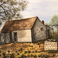 "Oil painting ""House and Well"" by Gary Cheatham"