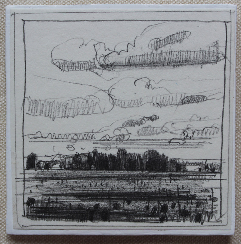 Drawing Evening Beanfield  by Harry Stooshinoff