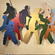 Acrylic painting Who Are We    34.5x96 by Edward Bock