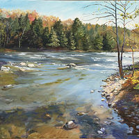 Oil painting The Housatonic and Ten Mile Confluence by Elizabeth4361 Medeiros