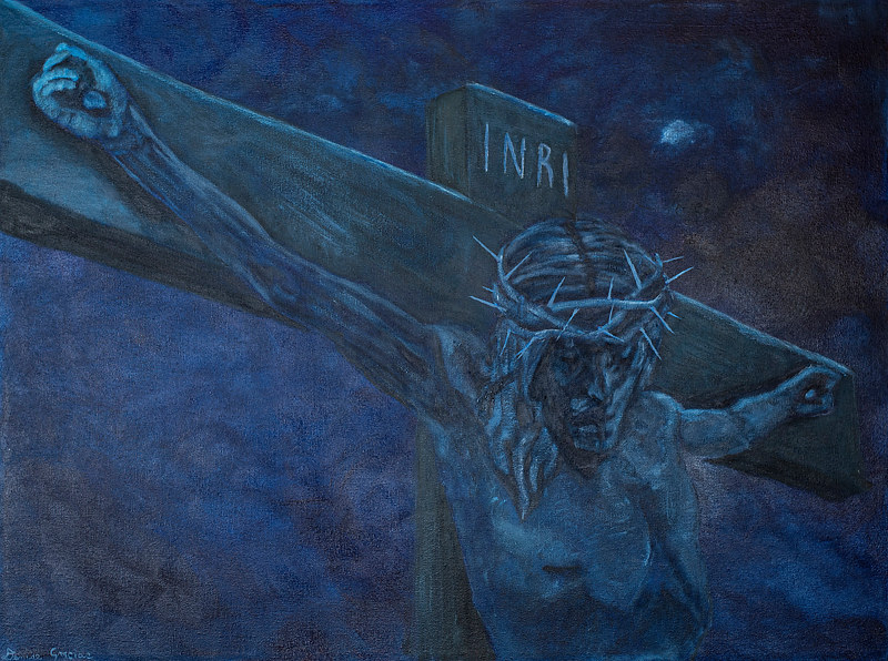 Acrylic painting And Christ Breathed His Last by Denise Gracias