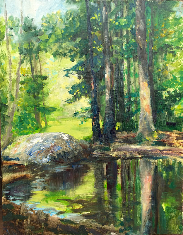 Oil painting The Frog Pond, Bear Mountain Reservation, Danbury CT. by Betty Ann  Medeiros