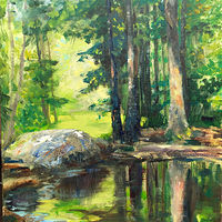 Oil painting The Frog Pond, Bear Mountain Reservation, Danbury CT. by Elizabeth4361 Medeiros