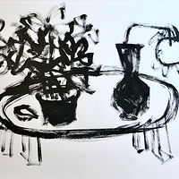 Acrylic painting Black and White Tabletop, I by Sarah Trundle